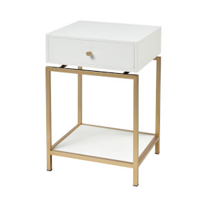 Clancy White with Gold 16-Inch Accent Table