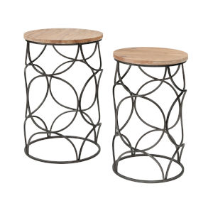 Billings Natural Wood with Aged Pewter Accent Table, Set of Two