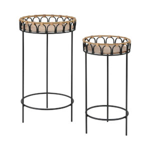 Fisher Island Natural Rattan with Black Accent Table, Set of Two