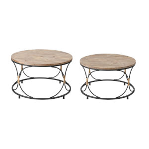 Fisher Island Natural Wood with Black Coffee Table, Set of Two
