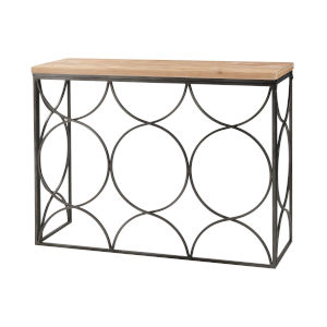 Billings Natural Wood with Aged Pewter Console Table