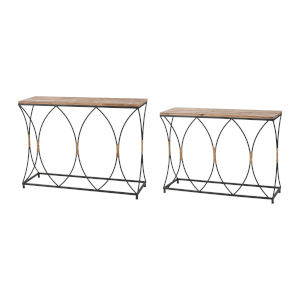 Fisher Island Natural Wood with Black Console Table, Set of Two