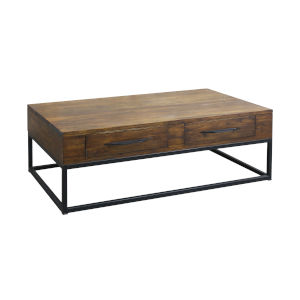Stanley Woodlwith Stain with Antique Brass Coffee Table