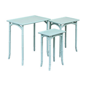 Lifestyle Grain De Bois Aqua Marine Accent Table, Set of Three