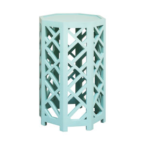 Lifestyle Grain De Bois Aqua Marine 15-Inch Accent Table