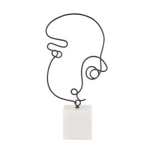 Line Drawing Matte Black with Natural White Marble Decorative Figurine