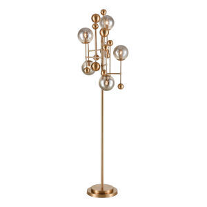 Ballantine Aged Brass with Smoked Glass Five-Light Floor Lamp