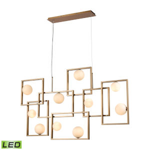 Amazed Aged Brass with White Seven-Light LED Island Chandelier