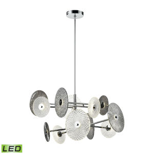Dream Catcher Chrome with Smoked Glass 37-Inch 12-Light LED Chandelier