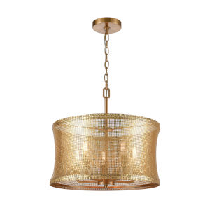 Correspondence Gold with Satin Brass Five-Light Chandelier