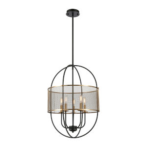 Saturn Matte Black with Satin Brass Five-Light Chandelier