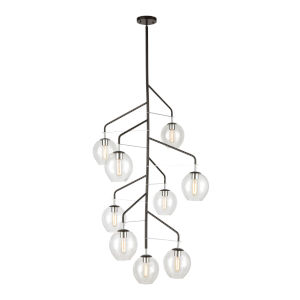 Umbra Oil Rubbed Bronze with Polished Chrome Nine-Light Chandelier