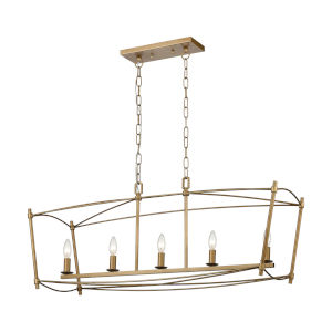 Trapan Aged Gold Five-Light Island Chandelier