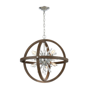 Morning Star Aged Wood and Polished Chrome 10-Light Chandelier
