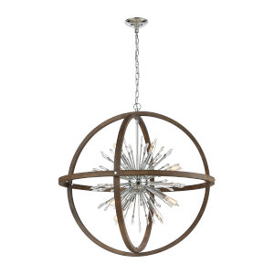 Morning Star Aged Wood and Polished Chrome Six-Light Chandelier