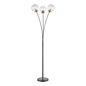 Boudreaux Burnished Brass with Matte Black Three-Light LED Floor Lamp