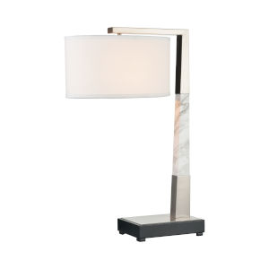Erudite Brushed Nickel with White Marble One-Light Table Lamp