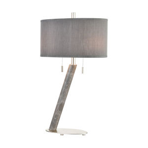 Lean on Me Grey Marble with Silver Leaf Two-Light Table Lamp