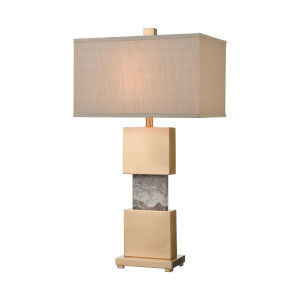 Aldern Cafe Bronze with Brown Stone One-Light Table Lamp