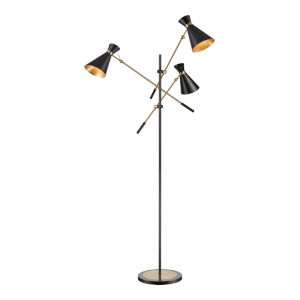 Chiron Black with Aged Brass Three-Light LED Floor Lamp