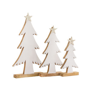 Winter White Enamel and Silver 21-Inch White Tree, Set of 3