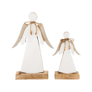 Winter White Enamel and Silver 13-Inch White Angel, Set of 2