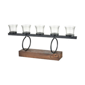 Stilton Burnished Pine and Antique Black 10-Inch Centerpiece Candle Holder