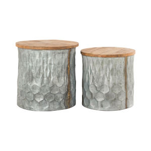 Caldwell Antique Galvanized and Natural Mango 18-Inch Stool, Set of 2