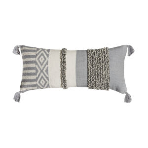 Santos Light Grey and Off-white 14-Inch 14 x 32 In. Pillow