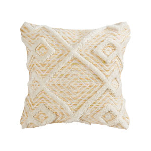 Maribel Pale Mustard and Off-white 20-Inch 20 x 20 In. Pillow
