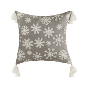 Snowflake Light Grey and White 20-Inch 20 x 20 In. Pillow