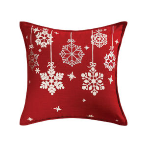 Glistening Snowflakes Red, White and Silver 20-Inch 20 x 20 In. Pillow
