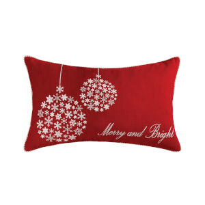 Merry and Bright Red and White 16-Inch 16 x 26 In. Pillow