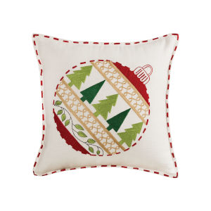 Ornament Red, White and Evergreen 20-Inch 20 x 20 In. Pillow