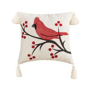 Cardinal Ridge Snow, Chateau Grey and Red 20-Inch 20 x 20 In. Pillow