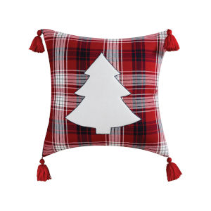 Holiday Plaid Red and Black and White 20-Inch 20 x 20 In. Pillow