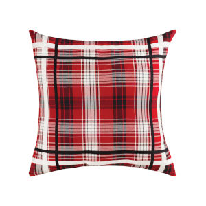 Holiday Plaid Red and Black and White 24-Inch 16 x 26 In. Pillow
