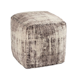 Asher Grey Chenille 18-Inch Pouf
