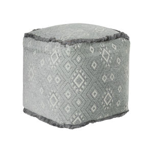Addison Light Grey and Off-white 18-Inch Pouf