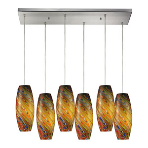 Vortex Satin Nickel Six Light Pendant