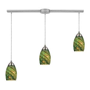 Mini Vortex Satin Nickel Three Light Pendant with Evergreen Glass Shade