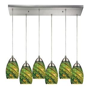 Mini Vortex Satin Nickel Six Light Pendant with Evergreen Glass Shade