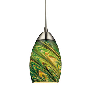 Mini Vortex Satin Nickel One Light Pendant with Evergreen Glass Shade