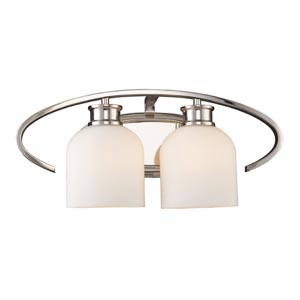 Dione Polished Nickel Two-Light Bath Fixture