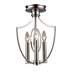Dione Polished Nickel Three-Light Semi-Flush