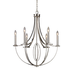 Dione Polished Nickel Six-Light Chandelier