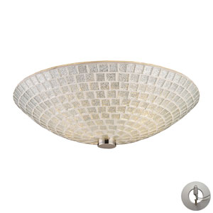 Fusion Two Light Flush Mount In Satin Nickel With Silver Mosaic Glass w/ An Adapter Kit