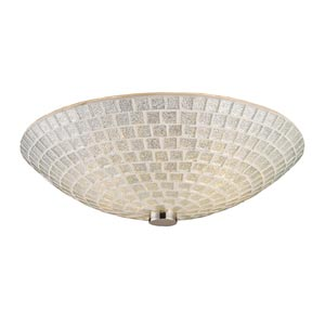Fusion Two-Light Semi-Flush with Silver Mosaic Glass