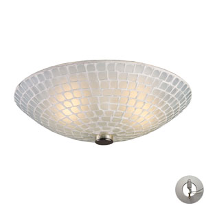 Fusion Two Light Flush Mount In Satin Nickel And White Mosaic Glass w/ An Adapter Kit