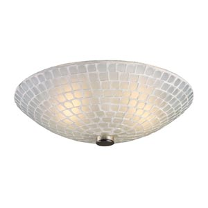 Fusion Two-Light Semi-Flush with White Mosaic Glass
